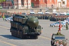 Ensayo del desfile de la victoria: Lanzador de Topol-M Foto de archivo libre de regalías