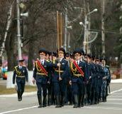 Ensayo general del desfile militar de la victoria Fotografía de archivo
