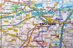 Enschede en mapa Imagen de archivo libre de regalías