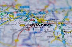 Enschede na mapie Zdjęcia Stock