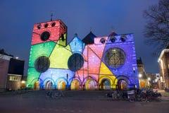Lightshow on church Royalty Free Stock Photos