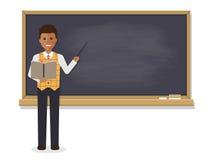 Enseñanza africana del profesor en sala de clase ilustración del vector