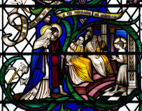 Enseñanza de Jesús (muchacho) en el templo (vitral) libre illustration