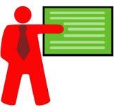 Enseñanza del profesor con el tablero verde en el fondo blanco libre illustration