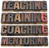 Enseñanza, entrenamiento, el entrenar y tutoría Foto de archivo
