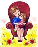 Enseñanza a leer stock de ilustración