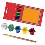 Enseñe el equipo de la pintura para el artista con las pinturas y Imagen de archivo libre de regalías