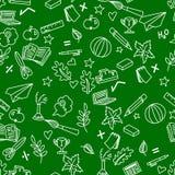 Enseñe el modelo inconsútil en garabatos verdes del fondo y del blanco Foto de archivo libre de regalías