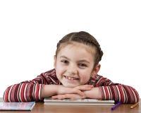 Enseñe a la muchacha que sonríe en cámara Imagen de archivo