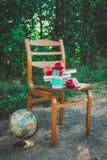Enseñe la vida inmóvil con las manzanas, globo, libros Fotografía de archivo libre de regalías