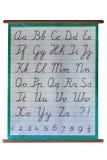 Enseñe el cartel con el alfabeto manuscrito en blanco Imagen de archivo
