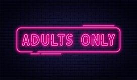 Enseigne au néon, adultes seulement, 18 plus, sexe et xxx Contenu limité, bannière visuelle érotique de concept, panneau d'affich illustration libre de droits