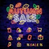 Enseigne au néon d'Autumn Sale, enseigne lumineuse, bannière légère Logo d'Autumn Discounts, emblème Illustration de vecteur illustration de vecteur