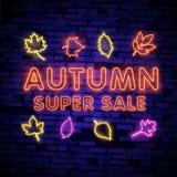 Enseigne au néon d'Autumn Sale, enseigne lumineuse, bannière légère Logo d'Autumn Discounts, emblème Illustration de vecteur illustration stock