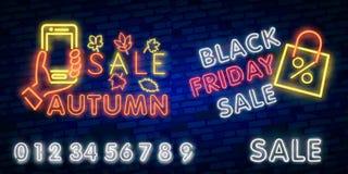 Enseigne au néon d'Autumn Sale, enseigne lumineuse, bannière légère Logo d'Autumn Discounts, emblème Illustration de vecteur illustration libre de droits