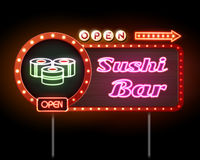 Enseigne au néon de bar à sushis Photo stock
