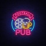 Enseigne au néon de bar du football Logo de barre de sport de modèle de conception dans le style au néon, bannière légère, la pub illustration stock