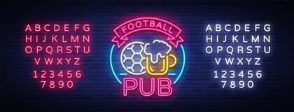 Enseigne au néon de bar du football Logo de barre de sport de modèle de conception dans le style au néon, bannière légère, la pub illustration libre de droits