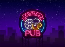 Enseigne au néon de bar du football Logo de barre de sport de modèle de conception dans le style au néon, bannière légère, la pub illustration de vecteur