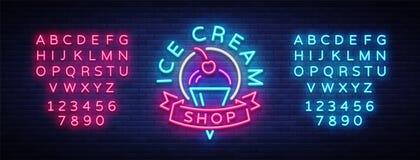Enseigne au néon de boutique de crème glacée  Logo de boutique de crème glacée dans le style au néon, symbole, bannière légère, c illustration de vecteur