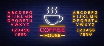Enseigne au néon de café, logo, emblème rougeoyant, illustration de vecteur pour vos affaires Une publicité lumineuse d'enseigne Image libre de droits