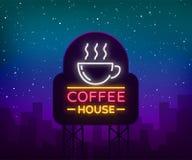 Enseigne au néon de café, logo, emblème rougeoyant, illustration de vecteur pour vos affaires Une publicité lumineuse d'enseigne Images stock