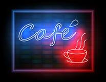 Enseigne au néon de café sur le mur de briques Photo libre de droits