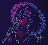 Enseigne au néon de chanteur de jazz illustration stock