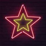 Enseigne au néon de double étoile Étoile au néon réaliste de vecteur sur le mur de briques illustration stock