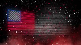 Enseigne au néon de drapeau des Etats-Unis Jour Etats-Unis Fond de fête photos libres de droits