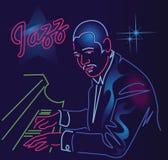 Enseigne au néon de jazz illustration de vecteur