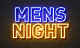 Enseigne au néon de la nuit des hommes sur le fond de mur de briques Images stock