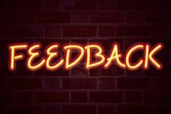 Enseigne au néon de rétroaction sur le fond de mur de briques Le tube au néon fluorescent se connectent le concept d'affaires de  Image libre de droits