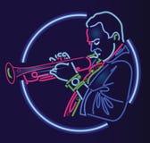 Enseigne au néon de trompettiste de jazz illustration stock