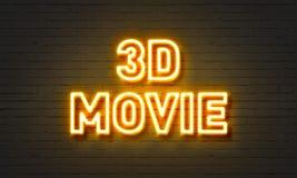 enseigne au néon du film 3D sur le fond de mur de briques Images libres de droits