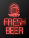 Enseigne au néon ou emblème frais de bière Image libre de droits