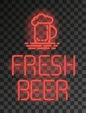 Enseigne au néon ou emblème frais de bière sur le fond transparent Photo stock