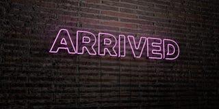 - Enseigne au néon réaliste sur le fond de mur de briques - 3D ARRIVÉ a rendu l'image courante gratuite de redevance illustration stock