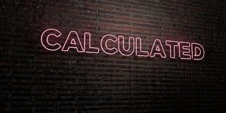 - Enseigne au néon réaliste sur le fond de mur de briques - 3D CALCULÉ a rendu l'image courante gratuite de redevance illustration de vecteur