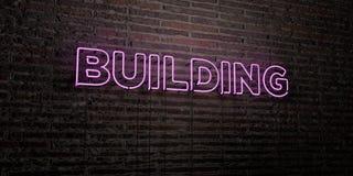 - Enseigne au néon réaliste sur le fond de mur de briques - 3D de CONSTRUCTION a rendu l'image courante gratuite de redevance Photographie stock
