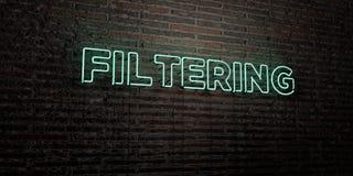 - Enseigne au néon réaliste sur le fond de mur de briques - 3D de FILTRAGE a rendu l'image courante gratuite de redevance illustration stock