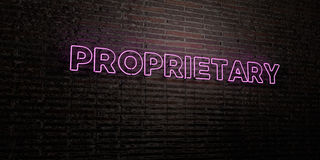 - Enseigne au néon réaliste sur le fond de mur de briques - 3D DE PROPRIÉTÉ INDUSTRIELLE a rendu l'image courante gratuite de red Images stock