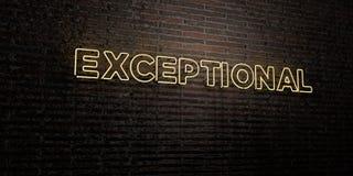- Enseigne au néon réaliste sur le fond de mur de briques - 3D EXCEPTIONNEL a rendu l'image courante gratuite de redevance illustration stock
