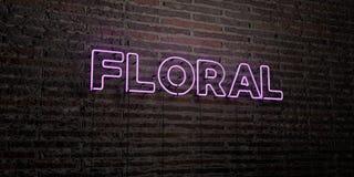 - Enseigne au néon réaliste sur le fond de mur de briques - 3D FLORAL a rendu l'image courante gratuite de redevance Images libres de droits