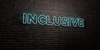 - Enseigne au néon réaliste sur le fond de mur de briques - 3D INCLUS a rendu l'image courante gratuite de redevance illustration de vecteur