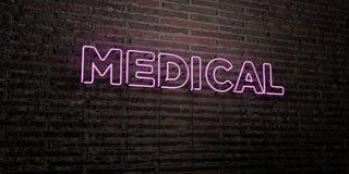 - Enseigne au néon réaliste sur le fond de mur de briques - 3D MÉDICAL a rendu l'image courante gratuite de redevance Images stock