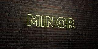 - Enseigne au néon réaliste sur le fond de mur de briques - 3D MINEUR a rendu l'image courante gratuite de redevance Photo stock