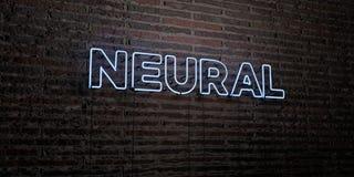 - Enseigne au néon réaliste sur le fond de mur de briques - 3D NEURAL a rendu l'image courante gratuite de redevance Image stock