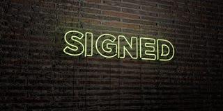 - Enseigne au néon réaliste sur le fond de mur de briques - 3D SIGNÉ a rendu l'image courante gratuite de redevance Photo libre de droits
