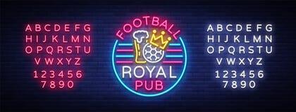 Enseigne au néon royal de bar du football Logo de barre de sport de modèle de conception dans le style au néon, bannière légère,  Illustration Stock